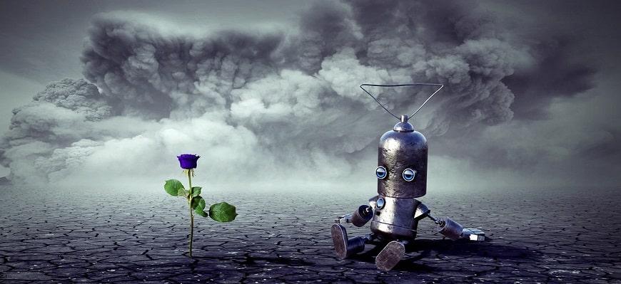 רובוט מסתכל על פרח